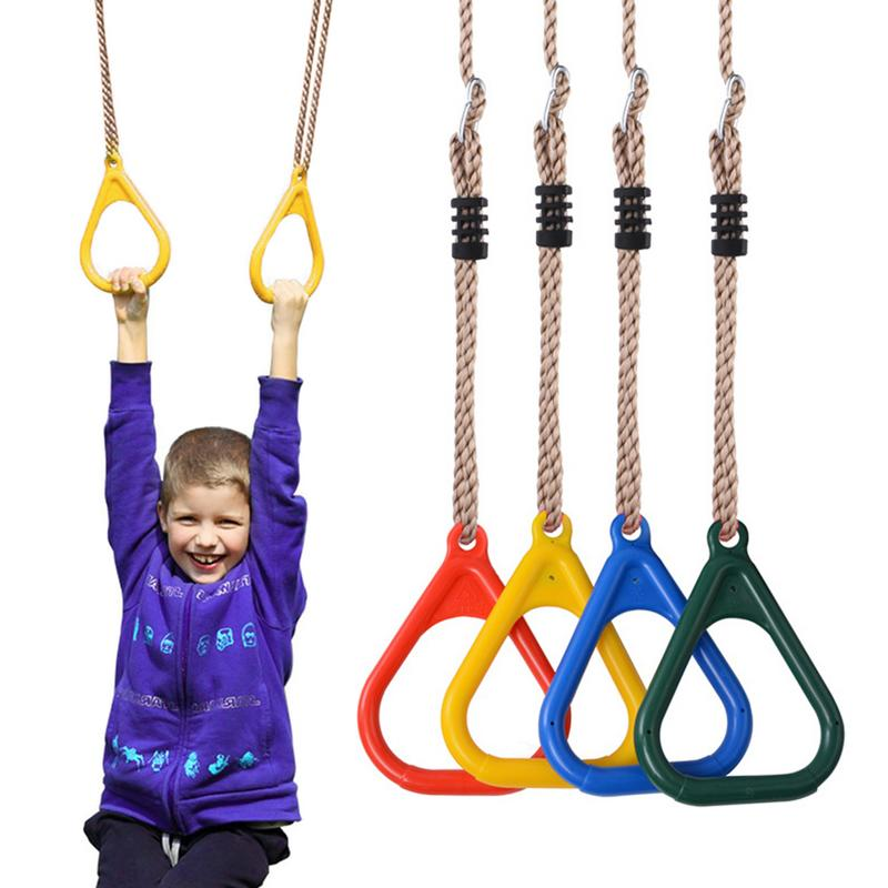 Children Trapeze Bar Pull Up Gym Rings Adjustable Plastic Fitness Sports Pull-ups Pull Ring Playground Home Swing Equipment