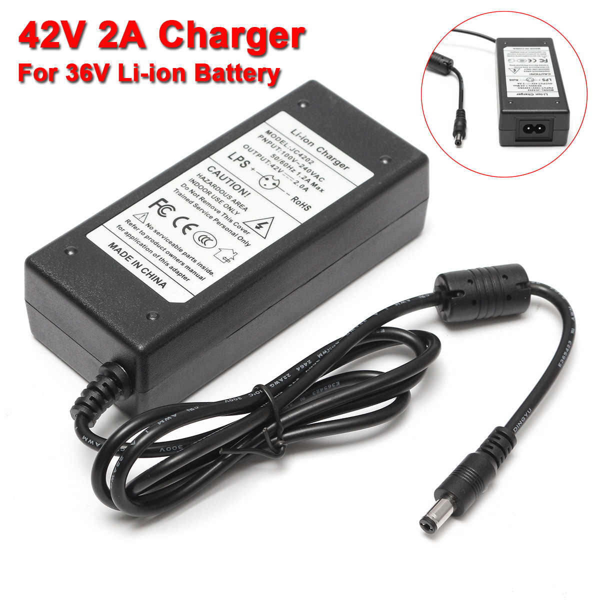 42V 2A Power Adapter Battery Charger For 36V Li-ion Lithium Battery Two-wheel Vehicle Chargers