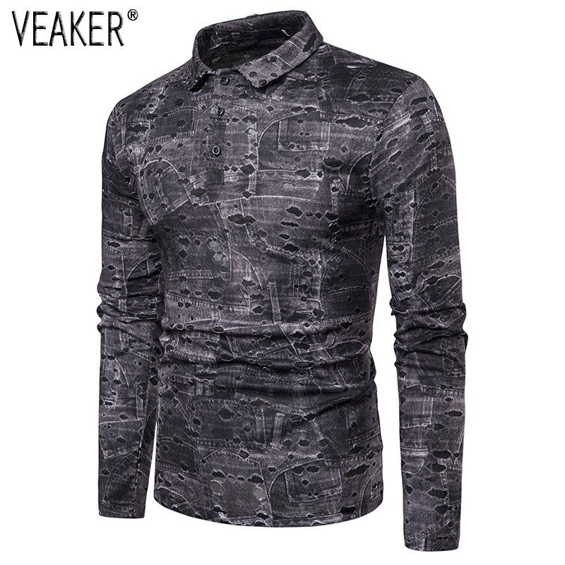 2019 New Men's High Street Ripped Hole Printed Shirts Male 3D Printed Slim Fit Shirt Men Long Sleeve Shirt Tops S-2XL
