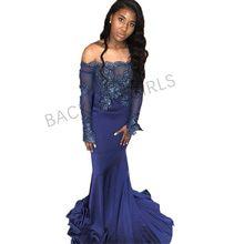 74ceae2a6 Simple y elegante azul oscuro vestidos de noche manga larga encaje cuello  barco barato baile de graduación vestido para las muje.