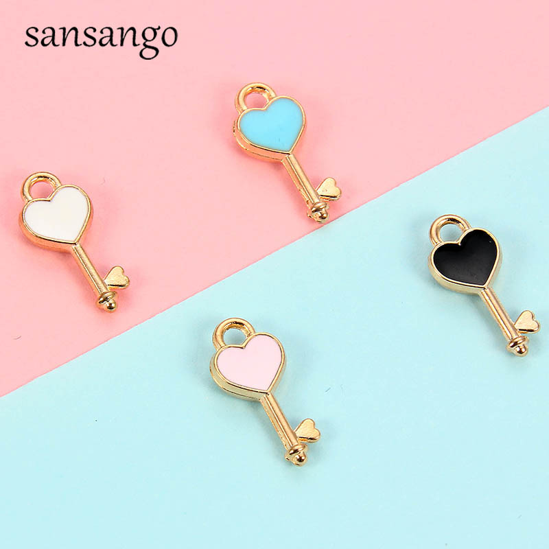 10pcs New Tiny Love Heart Key Alloy Pendant Charms For Jewelry Accessories Handmade DIY Earrings Bracelet Necklace Cute Keychain(China)