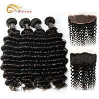 Deep Wave Bundles With Frontal Brazilian Human Hair Bundles With Ear To Ear Lace Frontal Closure 13x4 Free Part With Baby Hair