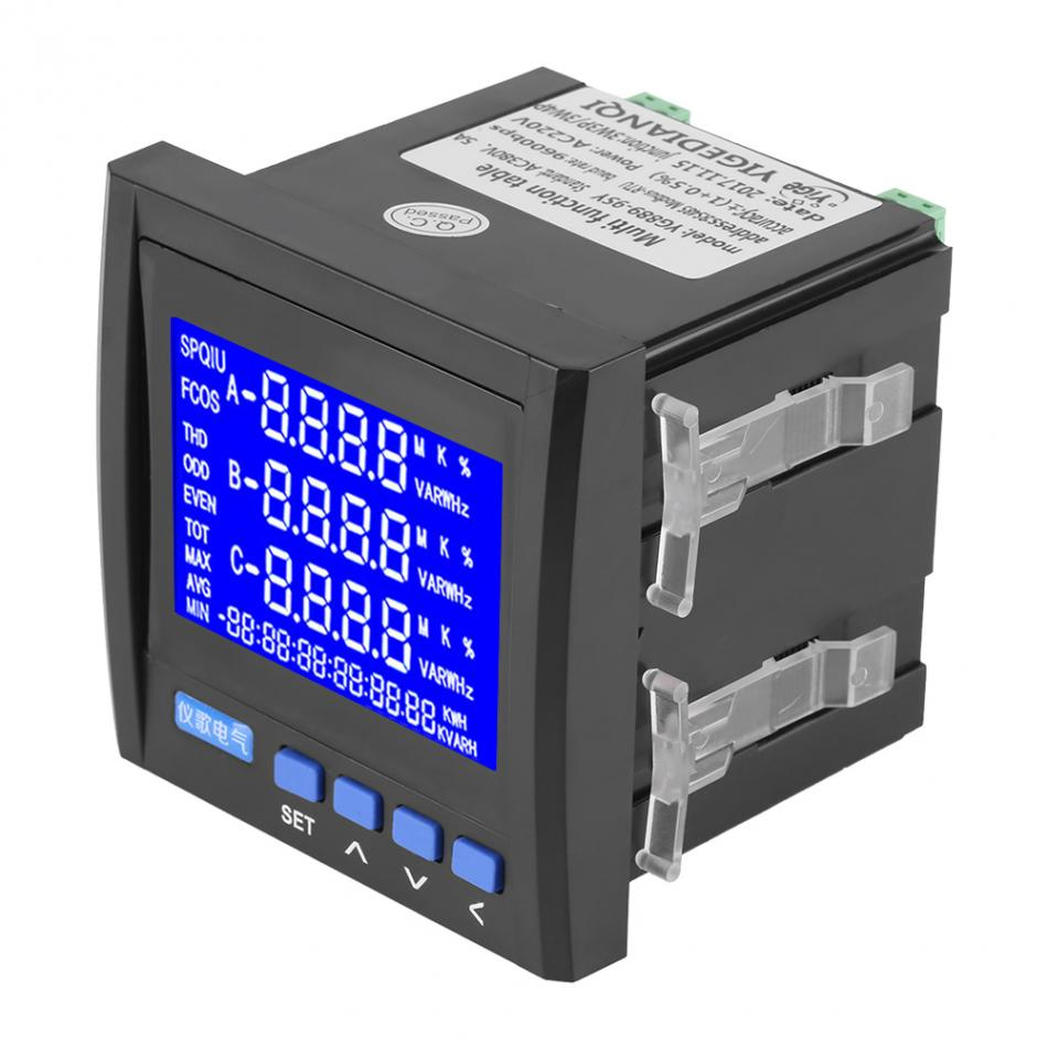 Multifunction 3-Phase Electric Voltage Frequency Power Energy Meter RS485 High Quality Voltmeter
