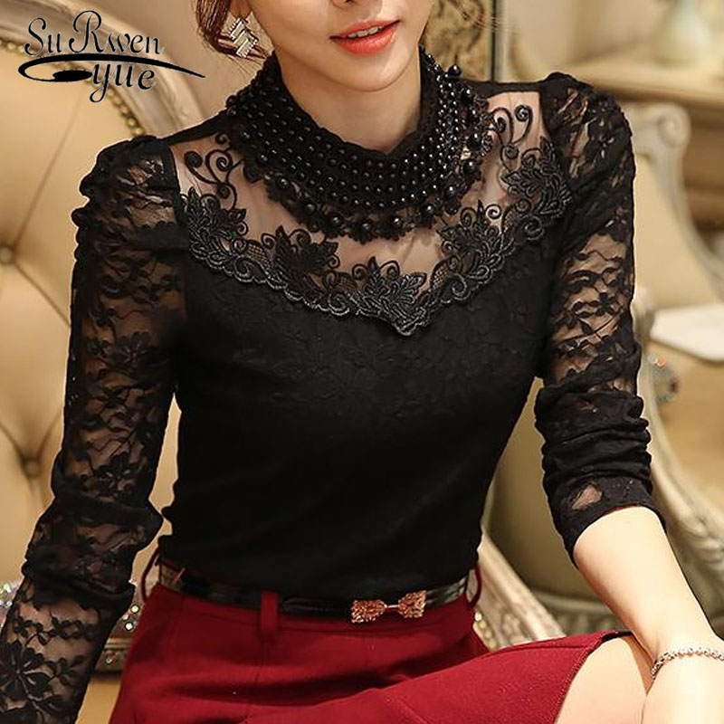 2017 New Fashion long sleeve   blouse     shirts   women fashion beaded Blusas femininas Sexy Plus size Lace Tops Women clothing 800B 25