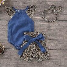 Джинсовый комбинезон с леопардовым принтом для маленьких девочек от 0 до 24 месяцев повязка на голову, комплект одежды из 3 предметов
