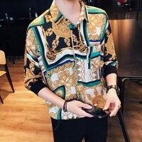 New Pattern Flower Shirt Social Slim Fit Dress Shirts Camisa Masculina Ropa De Hombre Casual Shirts Mens Club Summer Clothes