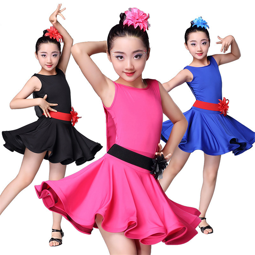 2019 Girls Latin Tango Rumba Dance Dress Kids Backless Performance Dresses Ballroom Practice Cha Cha Dance Costumes for Girl