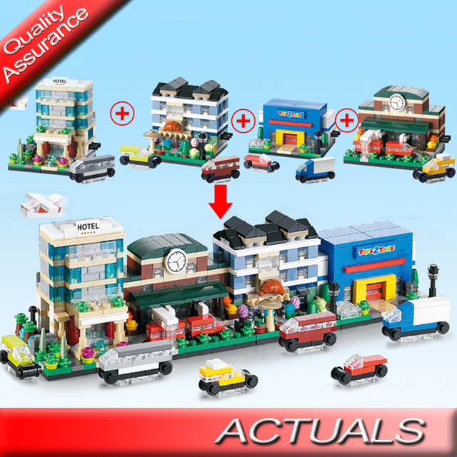 US $7 36 |4 Pcs/lot Decool 1110 1113 City Mini Street View Hotel Bakery  Store Train Station Toys Building Blocks Compatible with Lego MOC-in Blocks