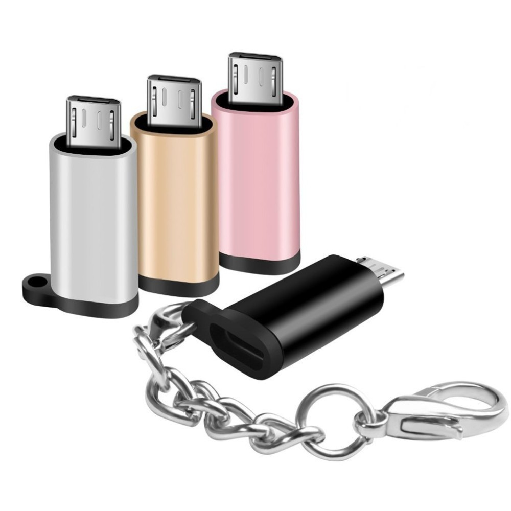 Mini Portable Aluminum USB-C To Micro USB Adapter With Keychain Anti-lost USB Type-C To Micro USB Convert Connector