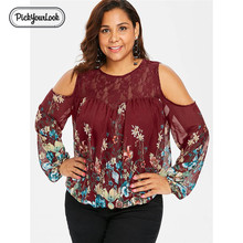 Pickyourlook Lace Women Tops And Blouses Long Sleeve Fall Floral Translucent Lady Blouse Shirt Autumn Plus Size Blusas Femininas plus lace panel floral blouse
