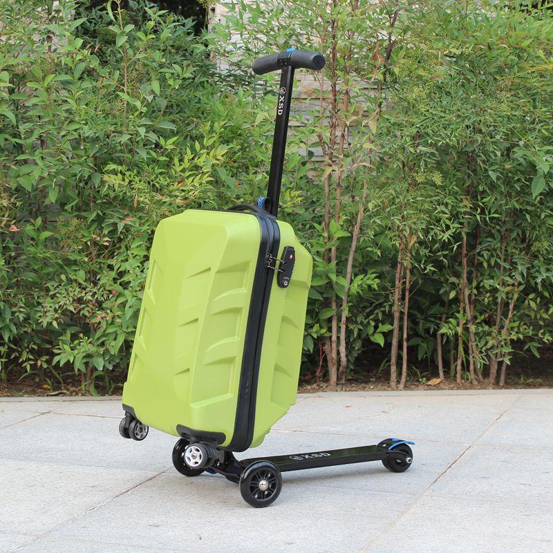 22 pouces imperméable à l'eau solide PC Ride sur Scooter avec valise trolley à carreaux boîte bébé Scooter puissance roue jouets pour enfants filles