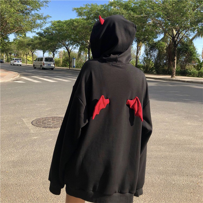 Harajuku Devil Wing Hooded Women Fleece Sweatshirt Casual Loose Long Sleeve Hoodies Sweatshirt Female Autumn Warm Pullover Tops