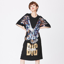 b0cb89ac4cc9 Harajuku Sexy dress women Sequins Embroidery Eagle Dress letter dresses  woman party night vestidos de fiesta
