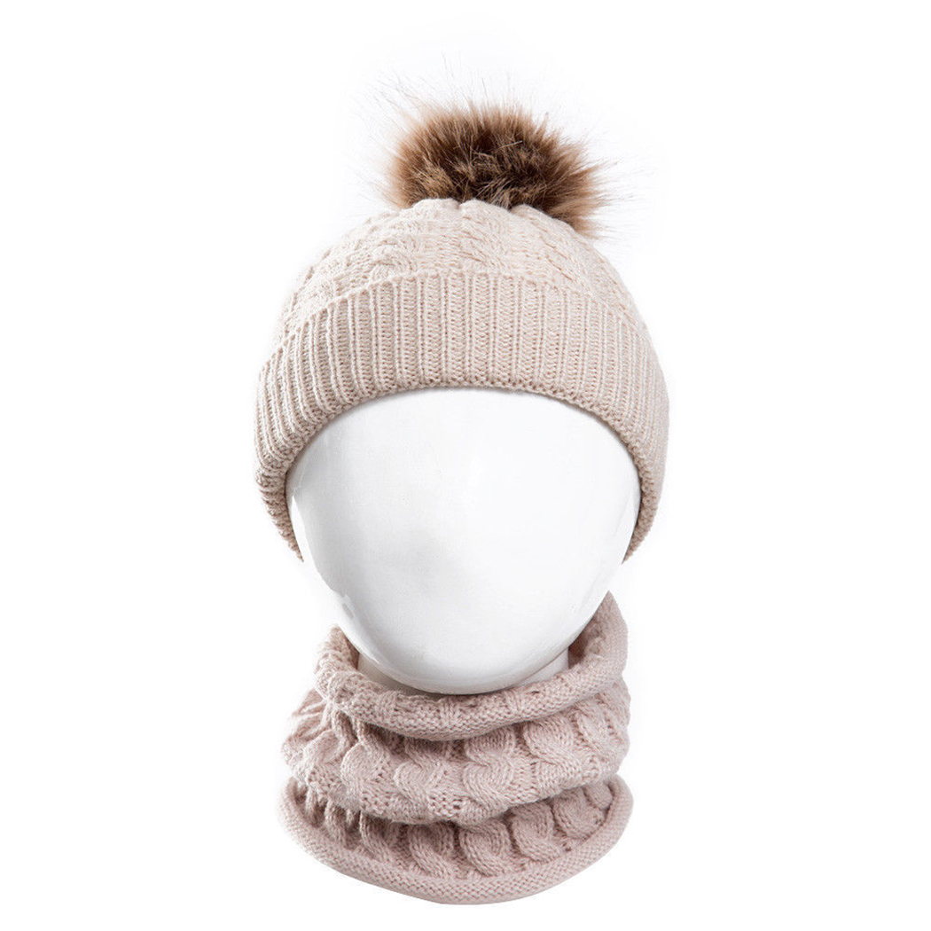 b40e3366f6e 2Pcs Set Baby Kids Knitted Hat Scarf Children Winter Warm Pompom Fur Caps  Beanie Cute Boys Girls Pom Pom Hats Ring Scarves Suit-in Scarf