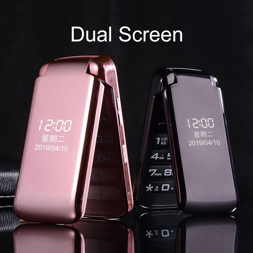 Mafam Dual Display Flip Mobile Phone for Senior SOS Fast Dial Magic Voice No Camera Big Russian Key Torch Super Light Dual Sim