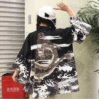 2019 Spring Summer Japanese Style Robes Harajuku And Wind Waves Flying Dragon Feather Woven Chiffon Cardigan Kimono Long Coat