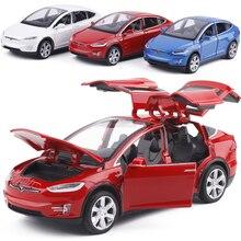 1:32 Сплав модель автомобиля Tesla модель X Металл литья под давлением игрушечный автомобиль с выдвижной спинкой мигающий музыкальный для детей Подарки