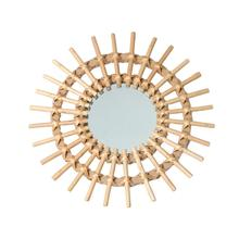 Sun Shape Decorative Mirror Rattan Innovative Art Decoration Round Makeup Dressing Bathroom Wall Hanging