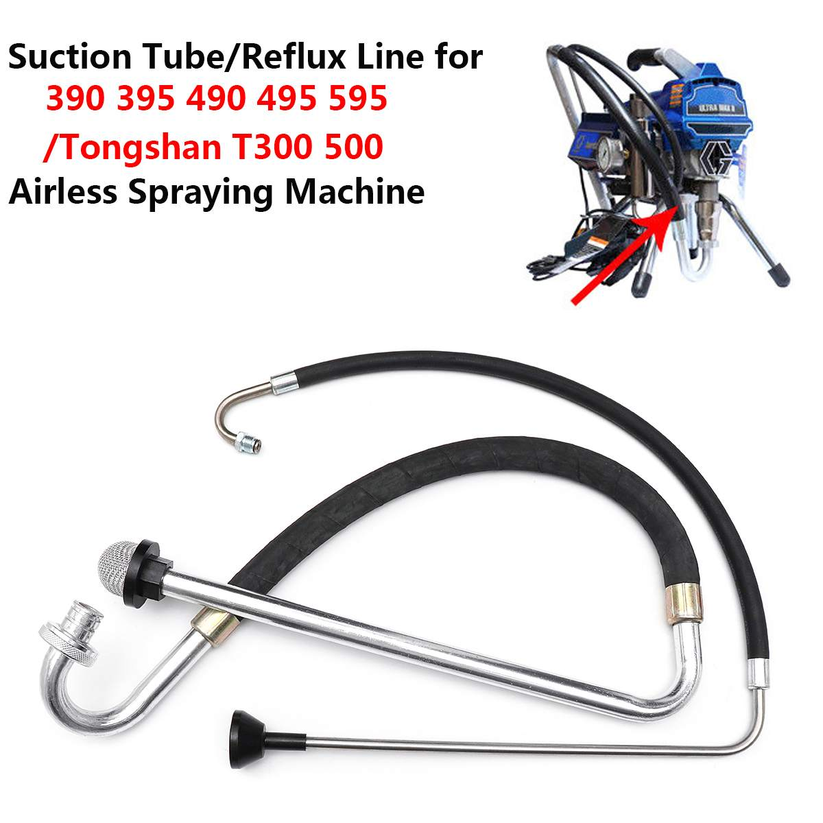 1pc Stainless Steel Suction Tube / Reflux Line For 390 395 490 Airless Spraying Machine Paint Sprayers Mayitr Tool Parts1pc Stainless Steel Suction Tube / Reflux Line For 390 395 490 Airless Spraying Machine Paint Sprayers Mayitr Tool Parts