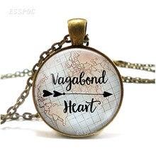 Vagabond Сердце ожерелье путешественник Цитата Vagabond цыганские украшения, Ретро стиль стеклянные ювелирные изделия аксессуары подарок для путе...