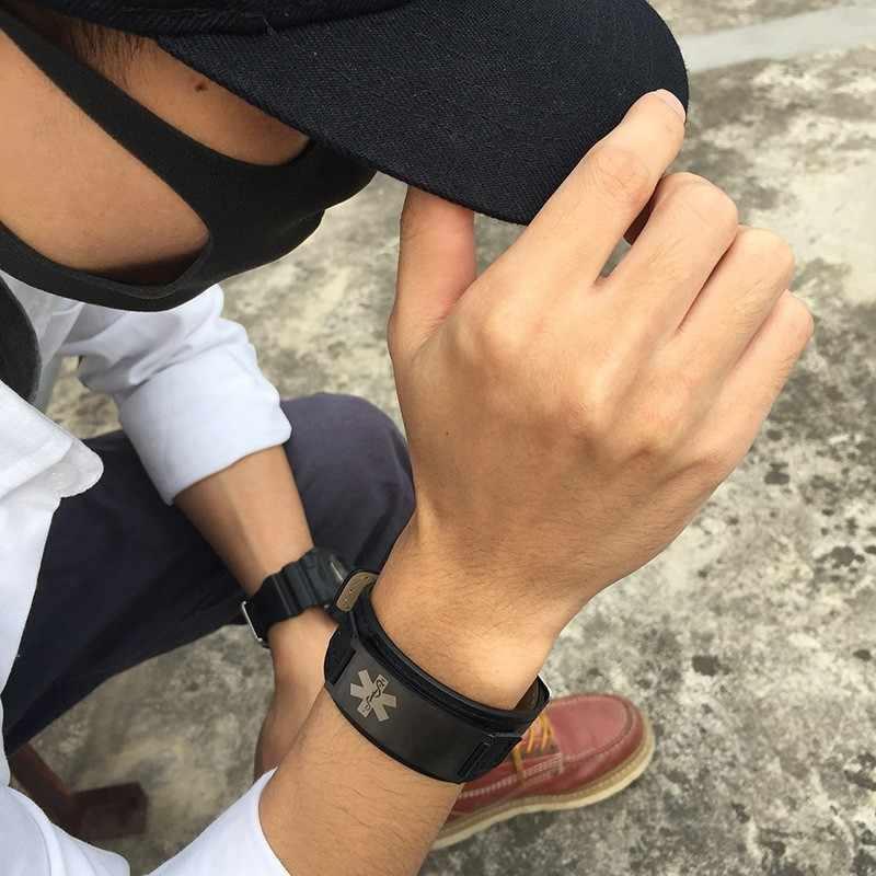 Męskie bransoletki medyczne dla kobiet ID darmowe niestandardowe grawerowanie nazwa choroby cukrzycy informacje o lodzie