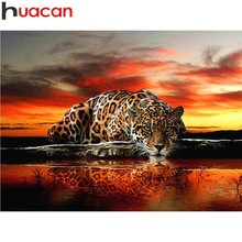 HUACAN Full Square Diamond Painting Leopard 5D DIY Diamond Embroidery Animal Scenery Picture Of Rhinestone Farmhouse Home Decor