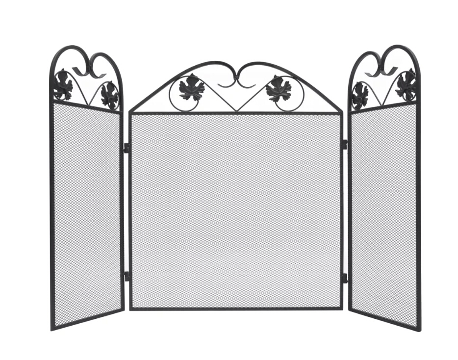 Vidaxl 3-panel Fireplace Screen Iron Black