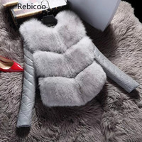 Women Jackets Vest Fashion Autumn Winter Coat Warm Female Faux Fox Fur Vest High Grade Slim Jacket Outerwear Black Gray