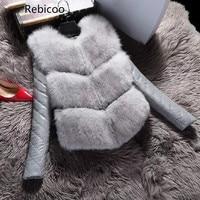 Women Jackets Vest Fashion Autumn Winter Coat Warm Female Faux Fox Fur Vest High Grade Slim Jacket Outerwear Black Gray