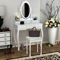 Твердый сосновый и МДФ макияж туалетный столик с табуретом 5 ящиков для хранения зеркала для макияжа спальня ретро стиль белый