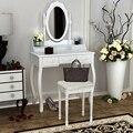 Tocador de madera de pino maciza y MDF con Taburete 5 cajones de almacenamiento Espejos de maquillaje dormitorio estilo Retro blanco