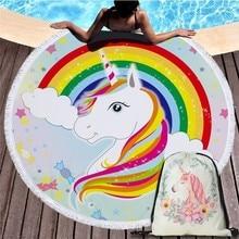 Moda unicornio de toalla de playa estilo con paquete de bolsillo conjunto portátil piscina bolsa de deporte manta de Yoga