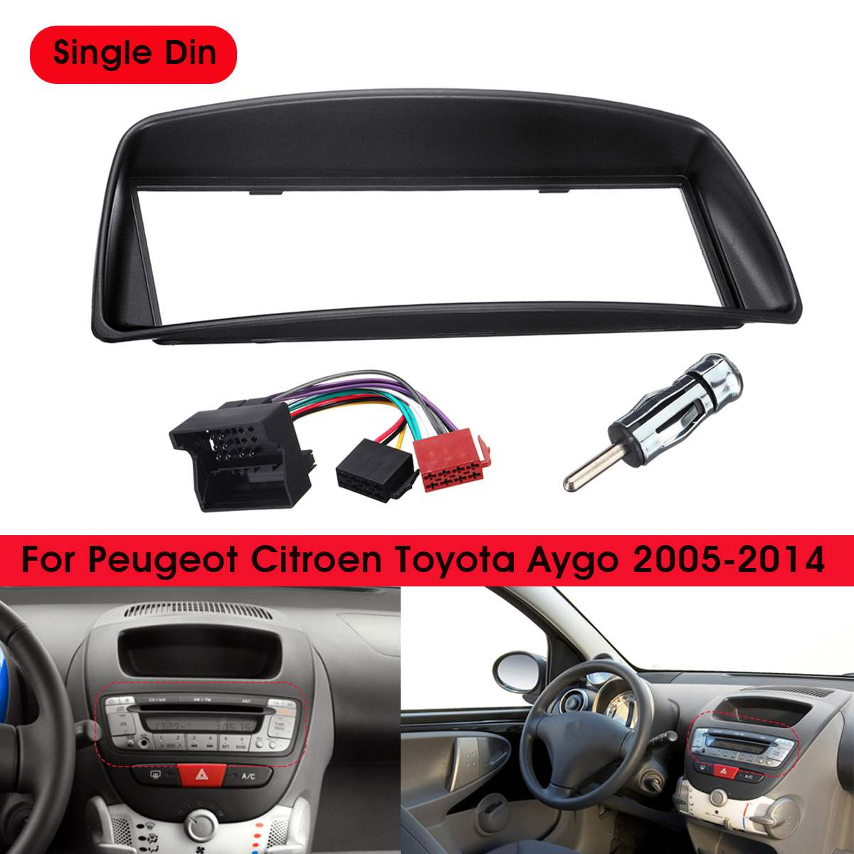 1 Din Car Stereo Radio Fascia Panel Plate Trim Frame Cover For Citroen C1 for Toyota Aygo for Peugeot 107 image
