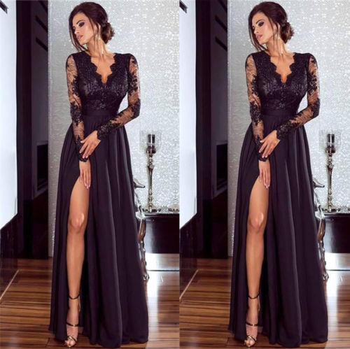 2019 Women Lace Evening Party Ball Prom Gown Formal CLUB Wear Deep V Neck Long Dress 4