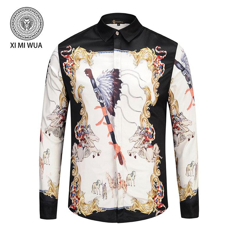 Nouveau mode hommes chemises 3d motif cheval imprimer à manches longues décontracté Slim Fit hawaïen chemises couvert bouton Chemise Homme Large