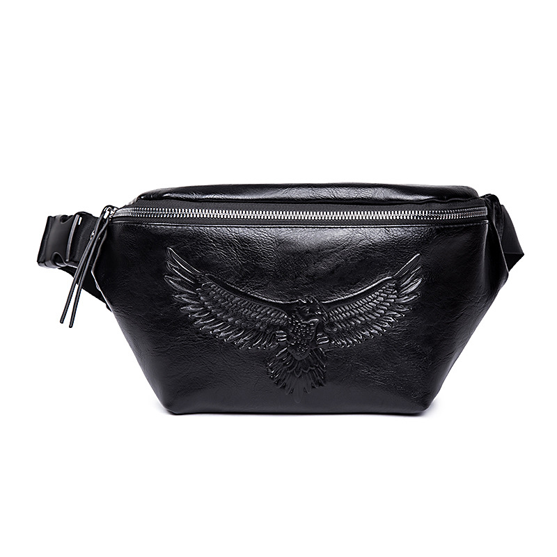 Punk Style Men PU Leather Eagle Waist Packs Street Chest Bag Embossing Black Fanny Pack Phone Wallet Cross Body Bags Male