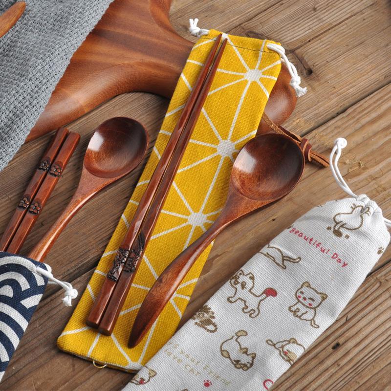 Drawstring Bag Portable Tableware Spoon Bag Cotton Linen Travel Storage Non-Woven Tea Storage Bag