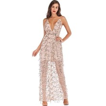 glitter gold sequin fringe long dress sexy mesh transparent robe femme vestido elegant frocks party suspender backless jurken fringe detail striped glitter mesh top