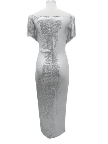 2019 Sexy Silver Maxi Dress Women Tassel Sequin Deep-V Bodycon Dress Off Shoulder Long Sleeve Wedding Evening Party Long Dress