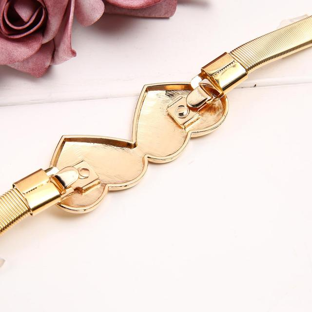 Fashion Elastic Women's Waist Belt with Double Heart Decoration