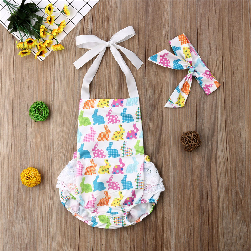 Y 1st Easter Party One Pieces Clothes Roupa Infantil 2019 Newborn Baby Girls Body Suits Sunsuit+Headband 2pcs Outfits Clothes