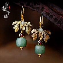 Винтажные серьги с зеленым камнем висячие серьги для женщин очаровательные висячие серьги в виде листьев этнические модные ювелирные изделия новое поступление