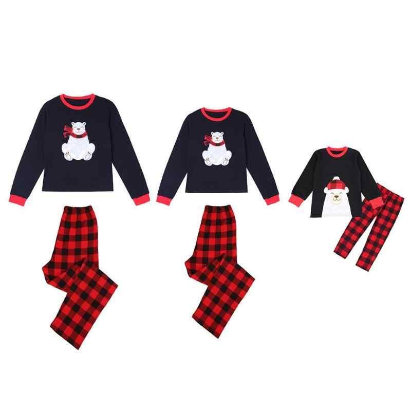 Familia oso juego trajes mamá niños 2 piezas familia Lindo juego trajes mamá oso lindo niños camiseta de padre pantalones a cuadros 2019 nuevo