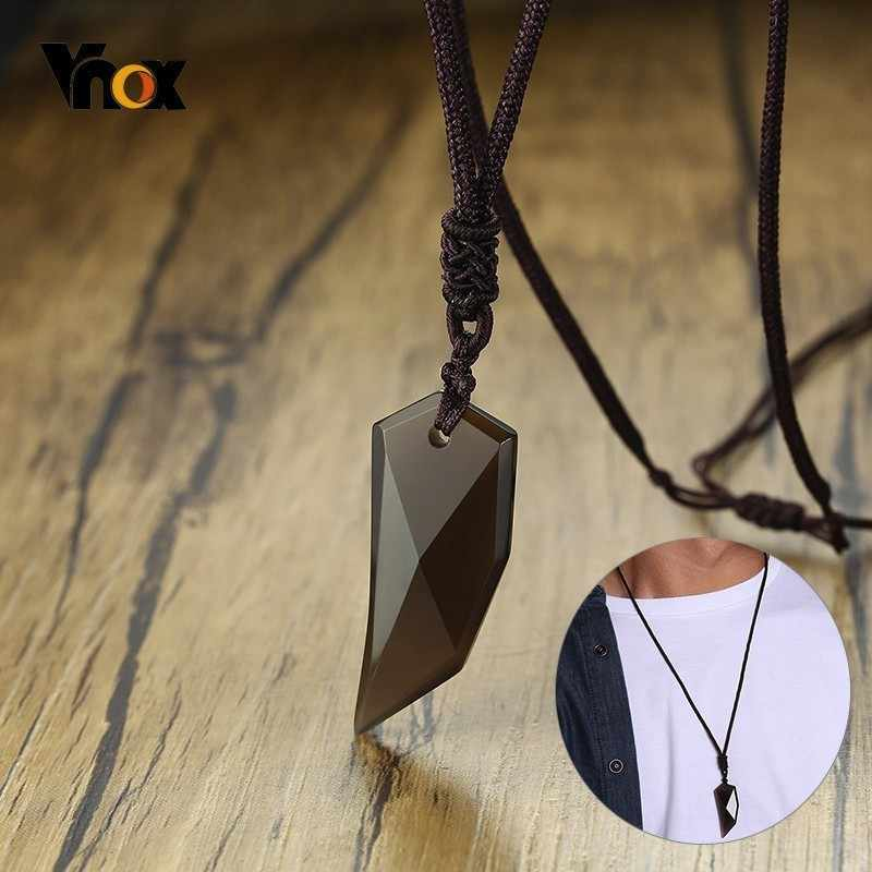 Vnox Obsidian Wolf Tooth Pendant Vintage Spike Amulet Stones Necklaces for Women Men With Adjustable Rope Chain Punk Collier