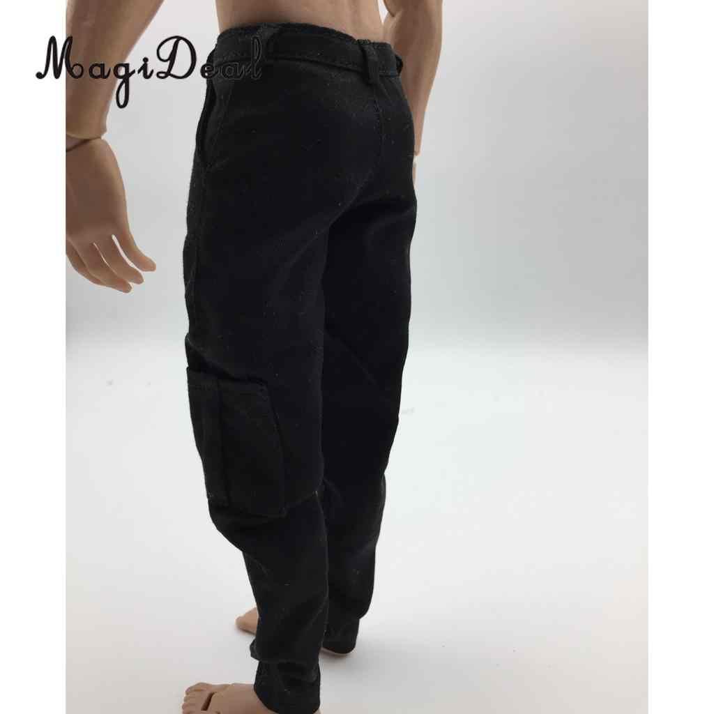 Magideal 1/6 escala dos homens preto calças casuais para 12 Polegada figura de ação masculina corpo brinquedos quentes bonecas accs