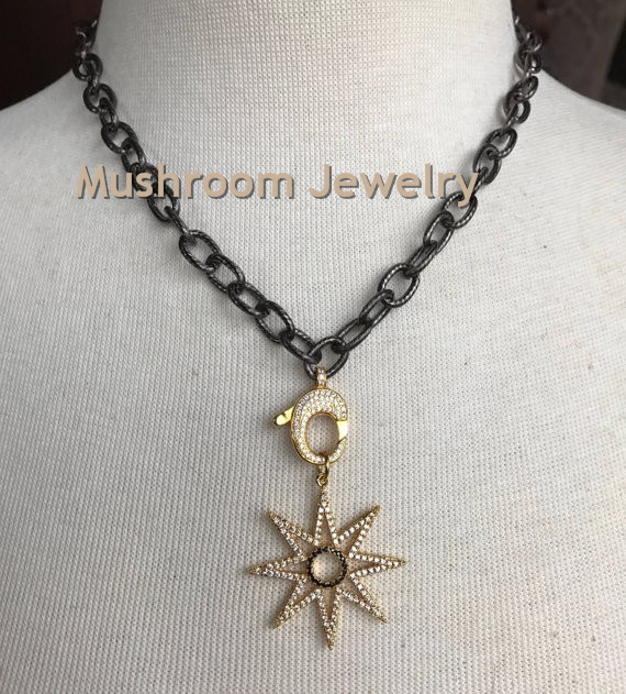Gold Pave CZ Crystal Star Pendant Clasp On Gun black Chain Choker Necklace