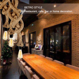 Image 5 - Cafe Bar Home  Lights Vintage Retro Country Triple E27 Holders 3 Heads Hemp Rope Light Lamp Industrial