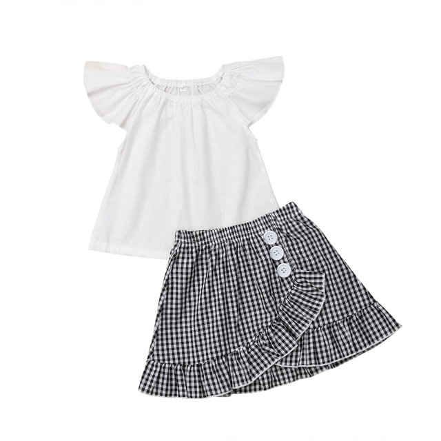 3a6694d8 2019 Newest Style Todder Kids Infant Baby Girls White Solid Short Sleeve  T-shirt Top+Plaid Skirt Fashion Outfit Set 2PCS. 1 order