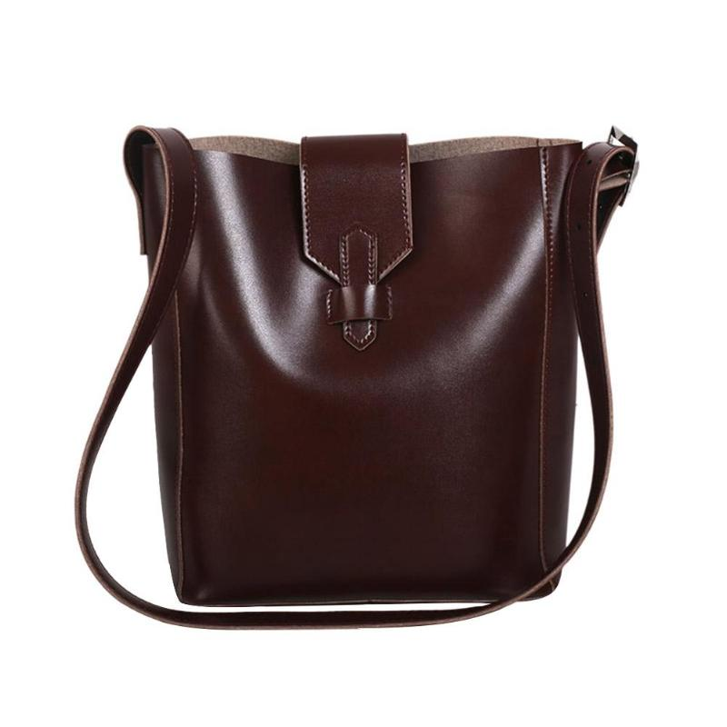 2Pcs/Set Women Handbags PU Leather Clutch Crossbody Hand Bags Design Solid Female Bucket Bags Bolsa Feminina