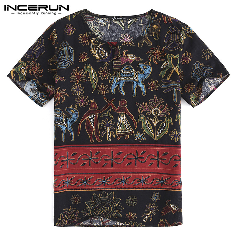 INCERUN Summer Male Tee Casual Shirt Tropical Men Dress Short Sleeve Loose Ethnic Camisas Chemise Masculina Clothing 5XL Beach